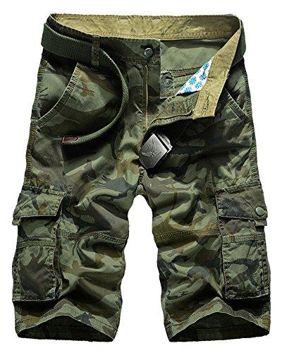 ShiFan Uomo Pantaloncini In Mimetiche Bermuda Con Multi-Tasca Pantaloni Cargo Corti Di Taglie Forti Esercito Verde 42