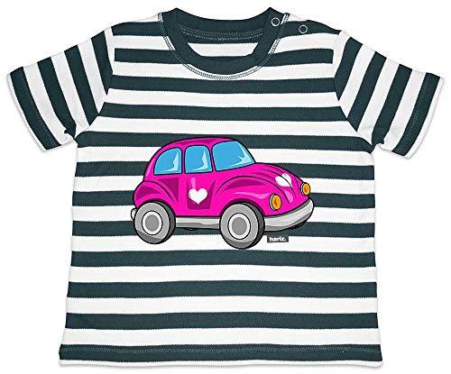 HARIZ Baby T-Shirt Streifen Herz Auto Bagger Eisenbahn Plus Geschenkkarte Navy Blau/Washed Weiß 18-24 Monate -