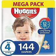 HUGGIES Ultra Comfort Diapers, Size 4, Jumbo Pack, 8-14 kg, 144 Diapers