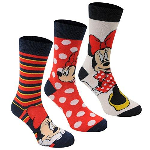Disney Damen Minnie Maus (Disney Minnie Maus Crew Socken 3Pack Damen Schwarz/Rot Charakter Socke, Mehrfarbig)