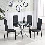 Schindora® Stunning Clear Glass Round Dining Table Set With 4 Faux Leather Chairs