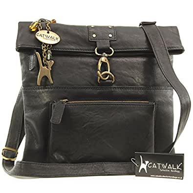 Catwalk Collection Leather Cross-Body Bag - Dispatch - Black