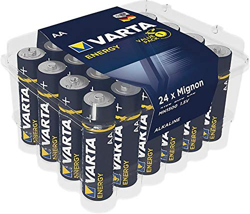 """Oferta de Pila VARTA Energy AA Mignon LR06 (paquete de 24 unidades), pila alcalina – """"Made in Germany"""" – ideal para radios y relojes de pared"""