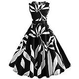 TEBAISE Sommer Frauen Konzert Formellen Anzug Vintage Druck Bodycon Sleeveless beiläufige Abendgesellschaft Prom Swing Kleid Geschichteten Rock(Schwarz2,EU-38/CN-L)