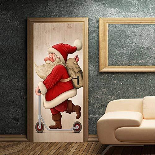 Havanadd Weihnachtsdekorationen Wandaufkleber Mehrfarben gedruckte Weihnachtsmann-Tür-Abdeckung für verzieren Weihnachtsjahreszeit Restaurant Café Hotel Home Office Dekor