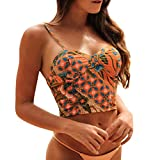 iYmitz Damen Bademode Beachwear Frauen Blumen Shoulder Patchwork Gedruckt Bikini Badeanzug Strandbekleidung(Gelb,EU-34/CN-S)