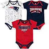 New England Patriots NFL 'Playmaker' Newborn 3 Pack Bodysuit Creeper Set