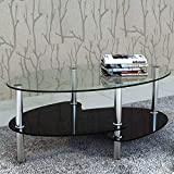 SOULONG Tavolino da caffè, Tavolini da caffè Vetro Tavolino da Salotto Moderno, Tavolo Salotto con Ripiano, 90 x 45 x 43 cm (Nero)