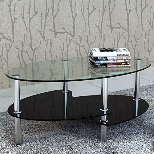 Wakects Tavolino da Salotto, Tavolino da caffè con Ripiano, Tavolini da caffè Vetro Moderno, Tavolo Salotto Ovale, 90 x 45 x 43 cm (Nero)