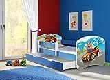 Clamaro 'Fantasia Blau' 160 x 80 Kinderbett Set inkl. Matratze, Lattenrost und mit Bettkasten Schublade, mit verstellbarem Rausfallschutz und Kantenschutzleisten, Design: 03 Verfolgungsjagd