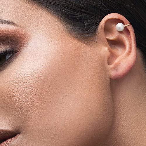 Pearl earring, propeller earrings, helix ear no-piercing cuff, helix ear cuff, sterling silver propeller ear cuff, non-perforated ear cuff