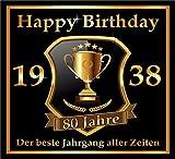 RAHMENLOS 3 St. Aufkleber Original Design: Selbstklebendes Flaschen-Etikett zum 80. Geburtstag: 1938 Der Beste Jahrgang