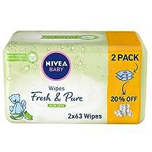 Nivea BABY WIPES FRESH & PURE 63'S X 2-20% OFF,