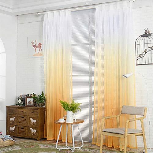 NIBESSER Transparent Farbverlauf Gardine Vorhang Schlaufenschal Deko für Wohnzimmer Schlafzimmer 1 Stück (2er Set 245cmx140cm, Weiß und Gelb)