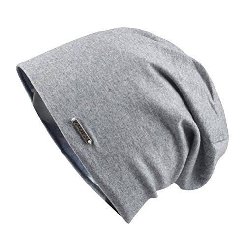CACUSS Damen Baggy-Schädel-Kappe Thin Baumwolle Stretch Beanie Sommer Sport Hut einheitsgröße b0094_dark grau Stretch-hut