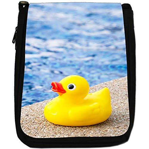 Lifetime-Paperelle di gomma per vasca da bagno Bubble-Borsa a tracolla in tela, colore: nero, taglia: M Duck Ready For Swim In Pool