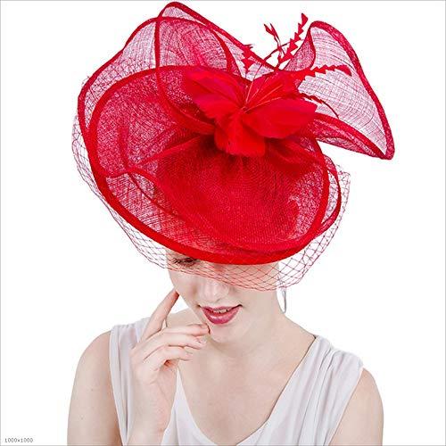 Gib niemals auf Mädchen-Dame Elegant Hat Covered Facial Bridal Headdress Blumen-Haar-Zusätze, die Cocktail-königlichen Ascot Wedding sind (Farbe : Rot)