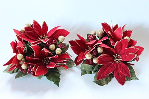 Gisela Graham Weihnachtsstern Leaf Berry Kerze Ring für 2,5cm (2,5Zentimeter) Abendessen Kerze -