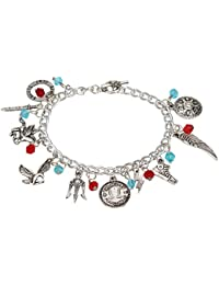 Access-o-risingg Silver Metal Multiple Charm Bracelet for Men and Women