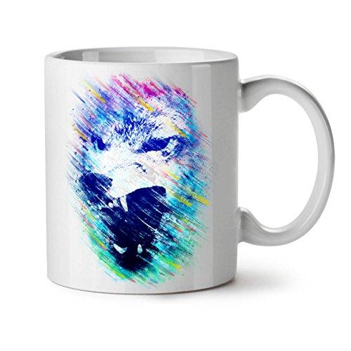 Wellcoda Wolf Gesicht Wütend Tier Keramiktasse, Achtung - 11 oz Tasse - Großer, Easy-Grip-Griff, Zwei-seitiger Druck, Ideal für Kaffee- und Teetrinker (Geschirr Wolf Kostüme)