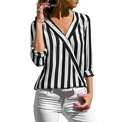 (Zegeey Damen Langarmshirts T-Shirt V-Ausschnitt Tops Gestreift Hemd Pullover Sweatshirt Oberteil Shirts LäSsige Elegant Bluse Stretch Tunika Top Lose Basic Shirt Vintage(Schwarz,M))