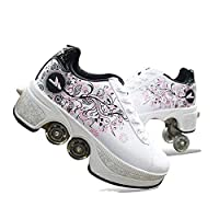 CVFDGETS Roller Sneakers Roller Shoes Casual Shoes Shoes Girls Boys Wheel Printing Shoes Kids Roller Skates Wheel Sneakers Shoes With 4 Wheels Unisex,Pink-39
