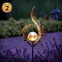 Gadgy Juego de 2 LED Solar Exterior Jardin Flame | Impermeable Lámparas LED para Decor Jardin | Luces Solares