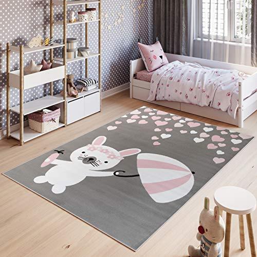 Tapiso Pinky Teppich Kurzflor Kinderteppich Kinderzimmer Grau Rosa Pink Weiß Pastellfarben Modern Hase Herz Spielteppich ÖKOTEX 200 x 300 cm