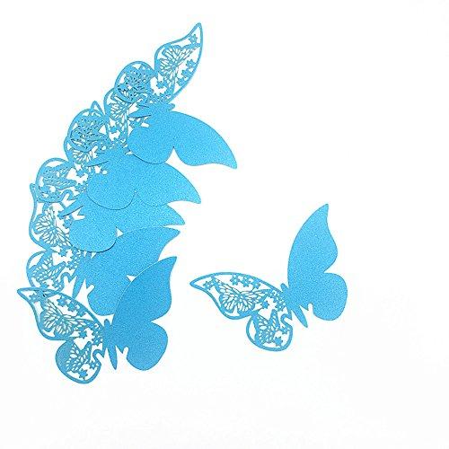 100 Stück Schmetterling Tischkarten Namenskarten Glasanhänger Wandsticker