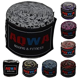 AQWA Boxing Hand Wraps 100% Cotton 4.5m Long Multi Colors (Skull)