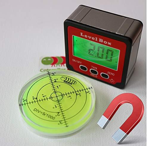 Magnétique Niveau à bulle numérique mesureur d'angles boîte. Rapporteur métrique. - housse de transport souple offerte. Comprend un niveau à bulle gratuit (d'une valeur de 15 euros) !