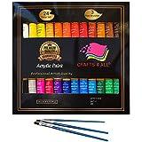 Peinture acrylique 24 set Crafts 4 All pour papier, toile, bois, céramique, tissus et artisanaux.Non toxique et vibrantes.Pigments riches et durables - pour débutants, étudiants et professionnels.
