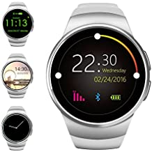 Evershop® Bluetooth Smart Watch 1.3 inches IPS Round Touch Screen Smartwatch Phone with SIM Card and TF Card Slot with Sleep Monitor, Heart Rate Monitor and Pedometer for IOS and Android