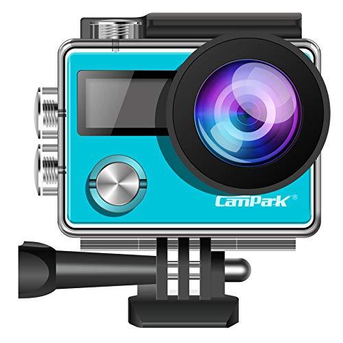 campark-occhiali X204K 20MP Action Camera con touch screen Sie regolabile angolo di vista 30m impermeabile fotocamera telecomando Dual 1050mAh batterie e kit di accessori (blu)