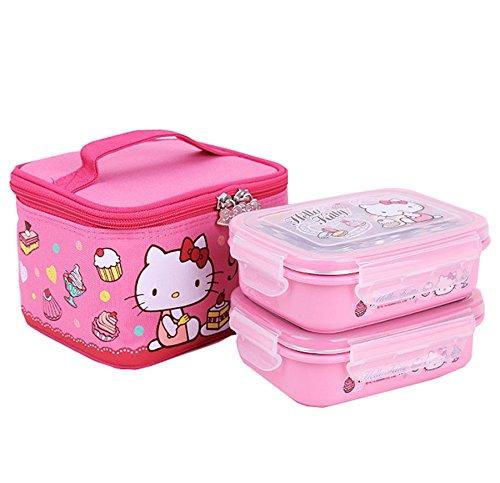 Hello Kitty Lock & und Lock zweistufiger Kinder Bento Box Picknick Outdoor Aktivität Reise Kitchen Food Aufbewahrung Edelstahl Wärmedämmung Container Lunch Box, pink