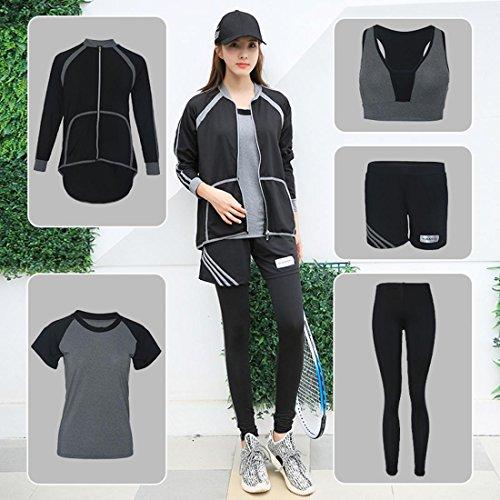 Frauen Yoga Kleidung Anzug 5 Stück Fitness Outfit Workout Sweatsuit Large Size Schnell trocknend Schweißabsorbierend Atmungsaktiv , B , XXL (Sweatsuit Hose)