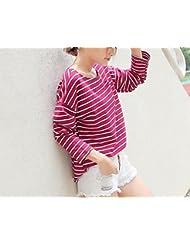Oto?o de Las Mujeres 'ropa de Vestir a Rayas Mangas Largas Camiseta Suelta de la Mujer,Vino tinto,XL