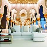 Pmhhc Große Retro Retro TapeteSheikh Zayed Great Mosque Beleuchtung Korridor Wandbilder Für Wohnzimmer Sofa Hintergrundbild Rolle-400X280Cm