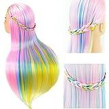 Cara como práctica de peluquería cabeza modelo Rainbow Colorful enseñanza muñeca pantalla