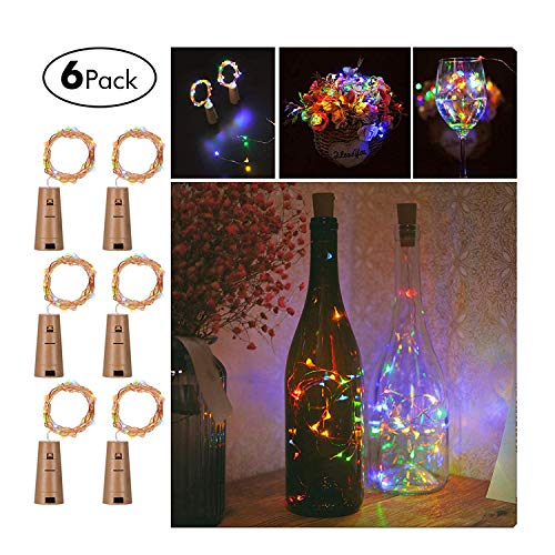 (6x 20 LED Flaschen-Licht, Buntes Licht Flaschenlichter Lichterketten Nacht Licht Weinflasche Flaschenlicht Kork Flaschen Licht für Hochzeit Party Deko von Pretty Comy)