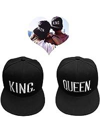 EQLEF Gorra de béisbol para los Amantes o los Pares Queen Y Rey-Negro(Letras Blancas)
