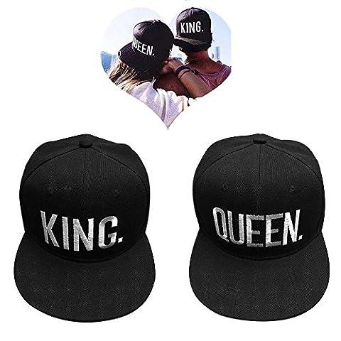 EQLEF® Casquette de baseball pour amoureux ou couple QUEEN et KING -Black