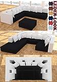 ::: MODELL HOLLYWOOD 2-FARBIG: DESIGNER WOHNLANDSCHAFT: 6 LUXUSTEILE + 14 KISSEN NEU! in 6 Farben...
