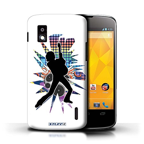 Kobalt® Imprimé Etui / Coque pour LG Nexus 4/E960 / Chanteur Noir conception / Série Rock Star Pose Pencher Blanc