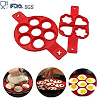 Dangshan Egg Ring Nonstick Silicone Baking Round Mold Egg Rings Muffin Pancake Mould Heart, Dishwasher Safe (2 Pack)