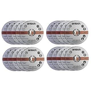 20 Pack Am-Tech 1.2mm x 115mm Thin Metal Cutting Discs - 3 Year Warranty