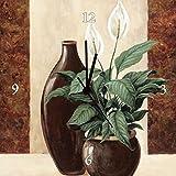 Artland Analoge Wand-Funk-oder Quarz-Uhr Digital-Druck Leinwand auf Holz-Rahmen gespannt mit Motiv A. S. Spathiphyllum - Einblatt Botanik Pflanzen Topfpflanze Malerei Creme A1XN