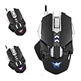 Gaming Mouse CW30 Wired Mäuse 7 Tasten 3200 DPI Return Rate Gewicht Tuning mit 4 Farbe Atmen LED-Licht,Black