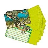 16-teiliges Set: 8 Einladungskarten mit 8 Umschläge * DINOSAURIER & T-REX * für Kindergeburtstag vom Lutz Mauder Verlag // 26023 // Kinder Geburtstag Einladung Karten DINO