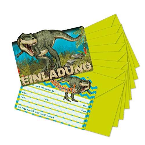 (16-teiliges Set: 8 Einladungskarten mit 8 Umschläge * DINOSAURIER & T-REX * für Kindergeburtstag vom Lutz Mauder Verlag // 26023 // Kinder Geburtstag Einladung Karten DINO)